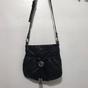 B.Makowsky Leather Crossbody Bag Color  Black